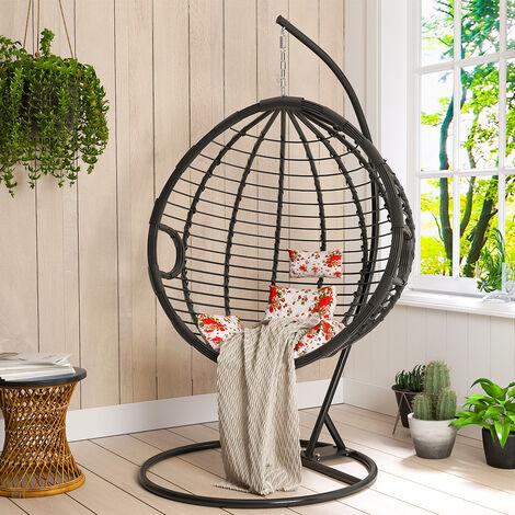 Hanging Rattan Swing Weave Egg Chair w/ Cushion Outdoor Patio Garden Black