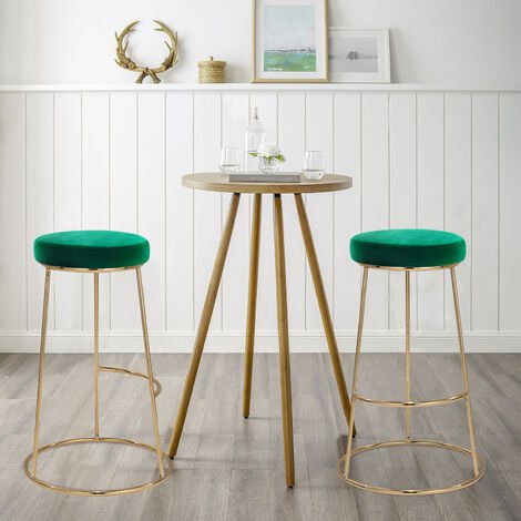 2pcs Vintage Green Gold Finish Velvet Bar Stool Breakfast Kitchen Counter Stools