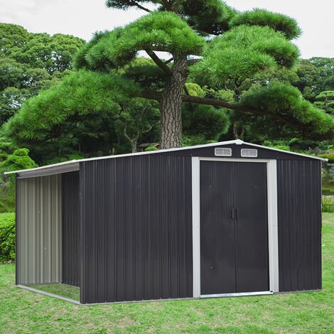 8ft x 8ft Metal Garden Tools Shed With Firewood Log Storage-Dark Grey