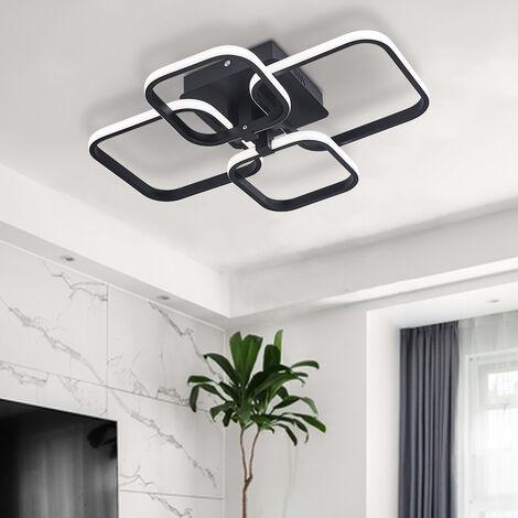 Modern Square LED Ceiling Lamp Chandelier Light, Black Frame-4 Head Dimmable