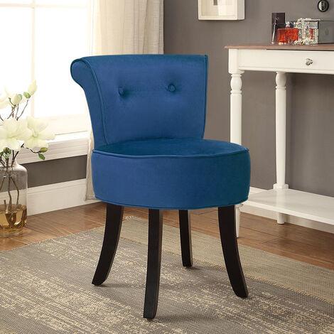 Velvet Padded Vanity Stool Small Dining Chair Dressing Table Seat , Blue