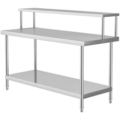 Stainless Steel Kitchen Food Prep Work Table Workbench + Overshelf Single Tier