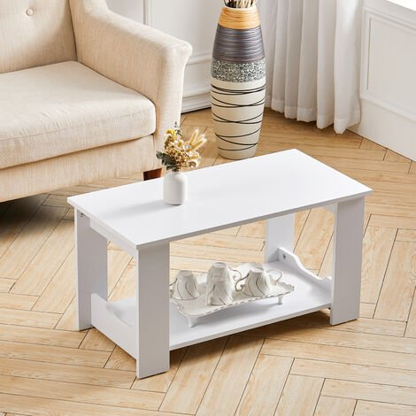 2-Tiers 80CM Wooden Coffee Table Modern Side End Desk Living Room Storage Shelf, White