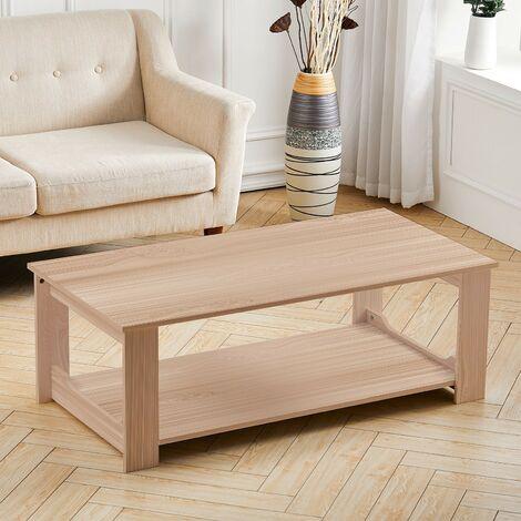 2-Tiers 100CM Wooden Coffee Table Modern Side End Desk Living Room Storage Shelf, Natural