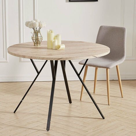 Large Round Dining Table Wooden Tabletop Metal Legs Home Kitchen Furniture 110cm