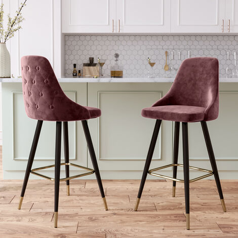 2x Velvet Bar Stools Kitchen Breakfast Pub Chairs High Counter Stool Restaurant, Grey&Pink