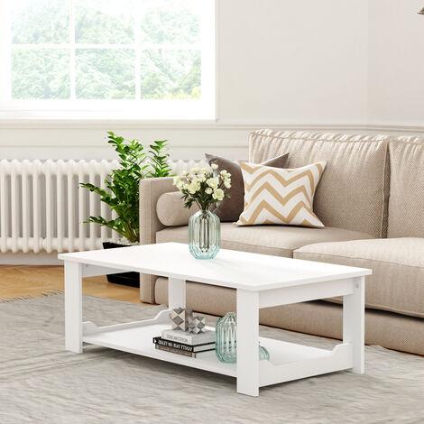 2-Tier Wooden Coffee Table Modern Side Desk Living Room Storage Shelf, White