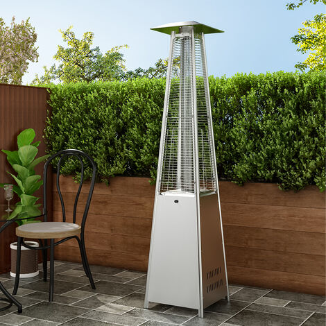 11KW Outdoor Stainless Steel Patio Gas Heater Freestanding With Wheel