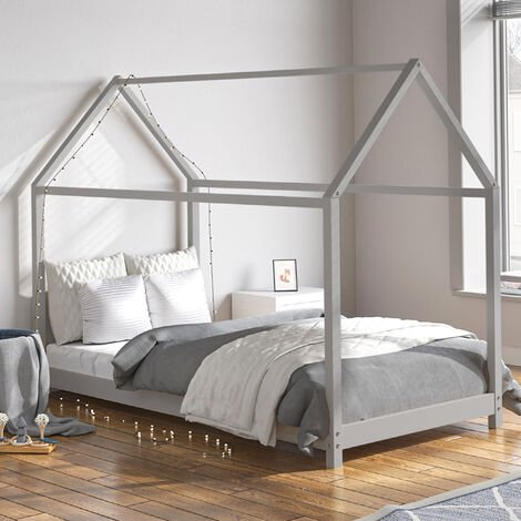 160cm Kids Children House Frame Solid Pine Wood Single Bed Toddler Bedstead Grey