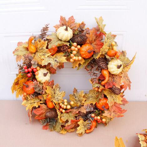 50CM Halloween Fall Pumpkin Wreath Autumn Maple Leaf Garland