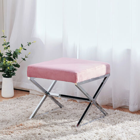 Dressing Table Stool Dining Chair Velvet Padded Seat Footstool with Chrome Leg, Pink
