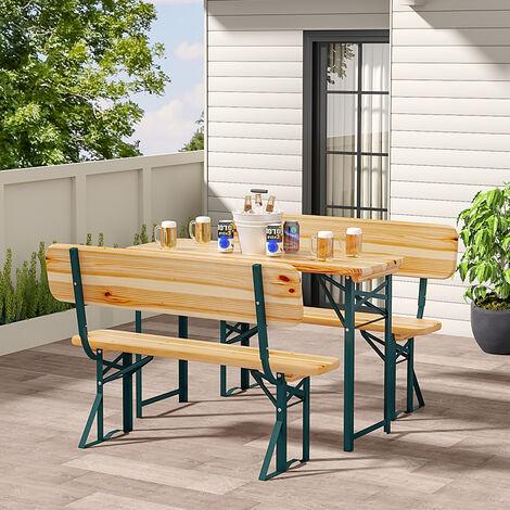Set of 3 Garden Wooden Folding Beer Table Bench Set