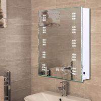 LED Illuminated Bathroom Sensor Mirror Cabinet Demist Shaver Socket 500x700mm