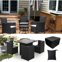 Outdoor 4 Seater Waterproof Rattan Table Chair Square Cube Garden Furniture Cover Protector