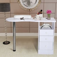 White Manicure Table Nail Station Hand Art Salon Bar Stand Desk with 3 Drawers