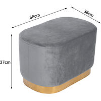 Ottoman Footstool Velvet Oval Pouffe Stool Dressing Table Stool Light, Grey