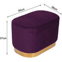 Ottoman Footstool Velvet Oval Pouffe Stool Dressing Table Stool Light, Purple