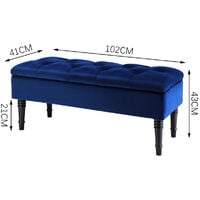 Buttoned Velvet Ottoman Storage Box Chest Bench Seat Toy Bedding Trunk Cabinet Royal Blue