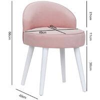 Velvet Vanity Stool Bedroom Makeup Dressing Table Desk Chair Padded Seat