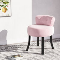 Velvet Vanity Stool Dressing Table Chair Soft Seat Low Back Makeup Stools Pink