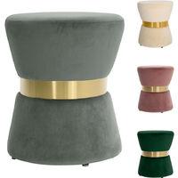Velvet Round Footstool Ottoman Pouffe Seat Foot Stool Grey