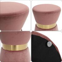 Soft Stool Vanity Chair Living Room Seat Footstool Metal Frame Pink