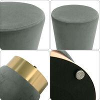 Ottoman Footstool Velvet Round Seat Pouffe Stool Dressing Table Stool Grey