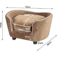 Pet Couch Dog Cat Wooden Sofa Bed Lounge Cushion - Brown