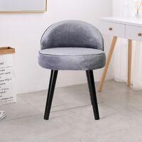 Velvet Dressing Table Stool Footstool Makeup Seat Vanity Chair Light Grey