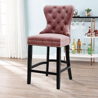 Vintage Buttoned Studded Counter Seat Breakfast Stool Kitchen Dining Chair, Pink