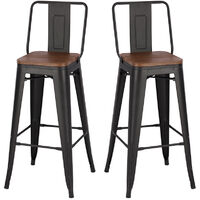 Vintage Metal Industrial Bar Stool 2pcs Dining Chairs Breakfast Bistro Cafe