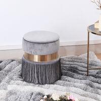 Velvet Tassel Dressing Stool Makeup Chair Storage Footstool Bedroom Living Room Grey