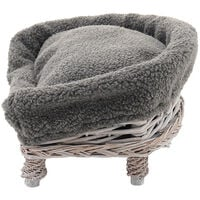 Wicker Woven Pet Cat Dog Sofa Couch Cushion Blanket Padded Bed Settee Grey