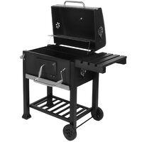 BBQ charcoal grill cart, barbecue, charcoal bbq - black