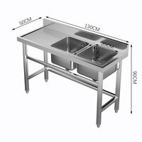 Commercial Kitchen Sink Standing Catering with Bowl Side Platform Stainles Steel