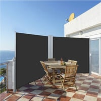 Outdoor Retractable Double-Side Awning Garden Patio Privacy Screen 180 x 600 cm