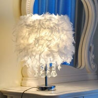 Crystal White Feather Table Lamp Desk Light Bedside Sitting Room