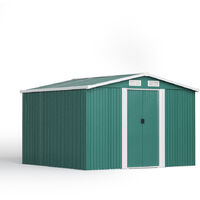 8ft x 8ft Green Metal Garden Shed Garden Storage WITH BASE Foundation
