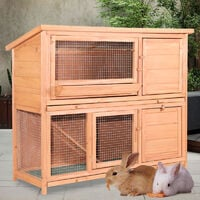 2 Tier Fir Wood Rabbit/Guinea Pig Hutch Run Cage with Sliding Tray, Large