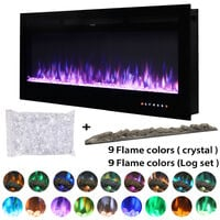 50 Inch LED Electric Fireplace Wall Mounted Wall Insert Heater 9 Flame Colours