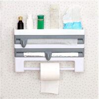 Wall Mount Cling Film Foil Roll Holder Dispenser Kitchen Towel Tissue Rack