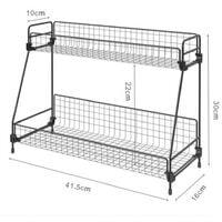 2 Tier Bathroom Kitchen Bedroom Countertop Shelf Corner Storage Rack Organizer