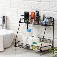 Iron 2 Tier Bathroom Countertop Organizer Spice Rack Free Standing Kitchen Shelf Storage