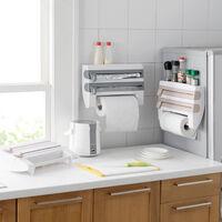Kitchen Roll Dispenser Wall Mount Rack Cling Film Tin Foil Paper Towel Holder