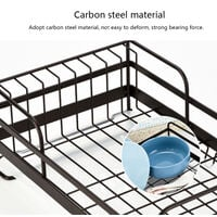 Metal Wire Dish Drainer Plates Storage Rack Utensil Drying Holder with Drip Tray