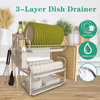 Chrome Dish Drying Rack Drainer Cutlery Cups Holder Drip Kitchen 3 Layer White