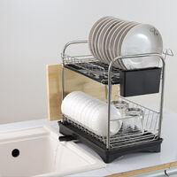 Stainless Steel Dish Drainer Drying Rack 2 Tier Self-Draining Shelves with Trays