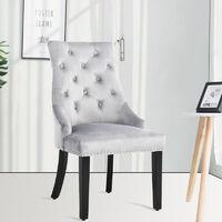 Set of 2 Tufted Velvet Buttoned Dining Chair, Light Grey