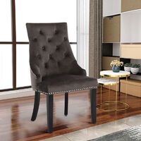 Set of 2 Tufted Velvet Buttoned Dining Chair, Brown