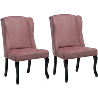 Set of 2 Velvet Dining Chairs, Pink